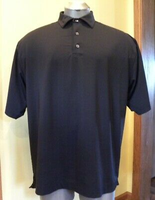 FJ FootJoy Prodry Lisle Short Sleeve Black Mens Golf Shirt Size Large