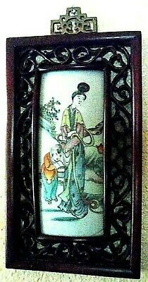 Vintage Chinese Wall Plaque Hand Painted Porcelain Tile in Fancy Wood Frame