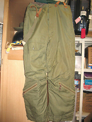 L@@K Rare! WWII A-9 Heavy Flying Trousers USAAF w/ Suspenders 1943-45 Size 38