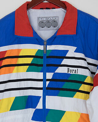 Vintage HEAD Sportswear Doral Tracksuit blue red yellow green white men's size M