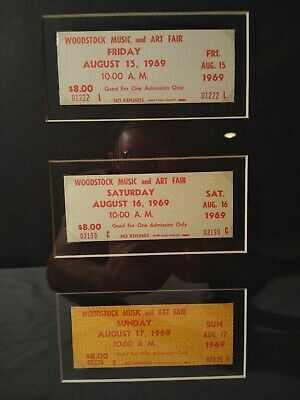 Vintage Authentic 1969 Woodstock 3-Day Set Concert Tickets Framed w/COA Mint