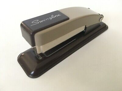 1960's Vintage SWINGLINE Small Working STAPLER Brown & Tan ALL METAL Made in USA