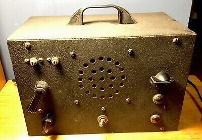 Vtg Tube Radio Metal Possible Wwii Ham Short Wave Military Works! Parts /repair