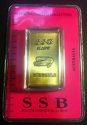 1 oz .999 Solid Bronze Bullion Certified Ingot (Crocodile) 8 To Collect