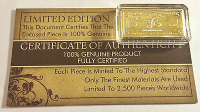 """NEW 5 Gram """"Year Of The Snake"""" Certified Ingot Finished in 999 Fine 24 k Gold"""