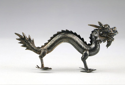 Very Fine c1900 Qing Chinese Silver Signed Ornamental Dragon Menu Holder