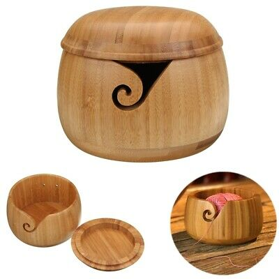 Wooden Bamboo Yarn Bowl Holder Storage With Lid For Yarn Skeins Knitting Crochet