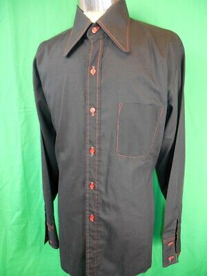 Vintage 1960s 70s Black Poly/Cotton Salco Dress Shirt Party Disco Groovy Large