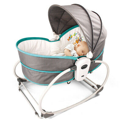 5 in 1 Multifunction Baby Bed Bassinet Rocker Crib Travel Carrier Music Console