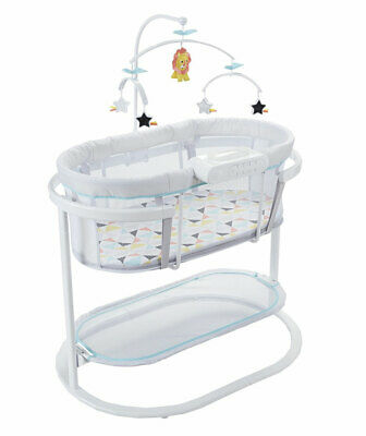 Baby Bassinet Bed Infant Crib Bed with Music Vibration Lighting Projection