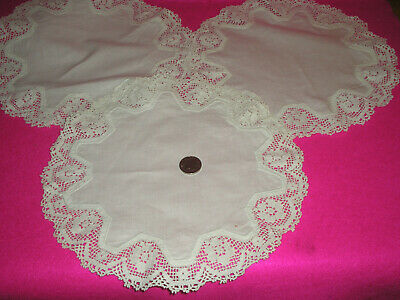 Antique/Vintage Mats/Doilies Circular White Cotton/Lace Crocheted X 3