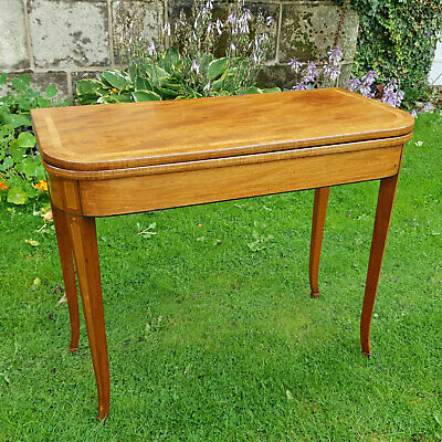 Regency Mahogany & Rosewood Inlaid Console Fold-Over Tea Table C1820 (Georgian)