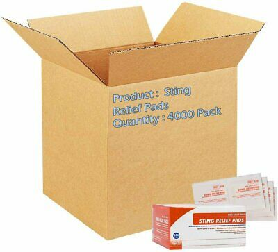 Sting Relief Pads. Case of 4000 Anesthetic Pads for Burns, scrapes, Insect...