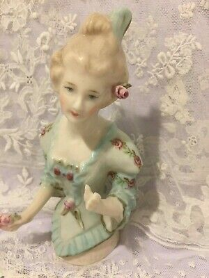 """Porcelain Half Doll """"Cassandra"""" approx 12 cms tall painted in blue with flowers"""
