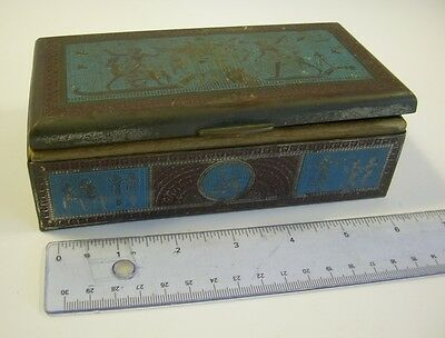 Vintage Metal Candy Trinket Box EGYPTIAN bas relief OLD wood lined cigars case