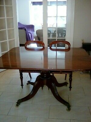 antique recency breakfast table and four mahogany chairs
