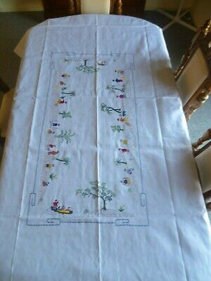 VINTAGE EMBROIDERED CHINESE MOTIF BANQUET TABLECLOTH 243cms x 148cms 8 x napkins
