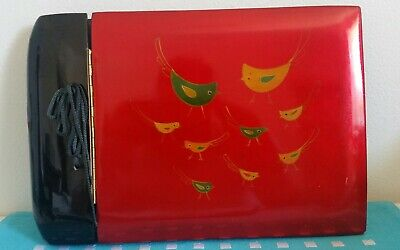 Vintage Asian Hard Cover Lacquer Photo Album Red Black With Green Gold Birds