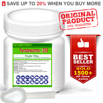 Fendeworm 200® 100g Powder Fenbendazole 20% Dog Cat De-wormer Panacur Safe Guard