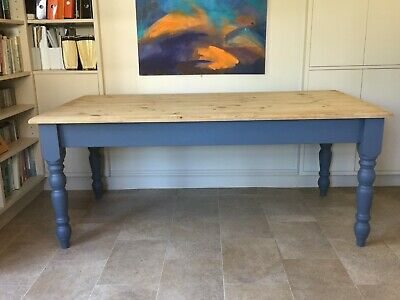 Large Solid Pine Farmhouse Table -Scrubbed Top plus Hand Painted & Matt Varnish