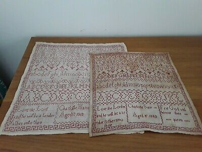 RARE Pair of 19th Century Antique English Red Work Samplers Dated 1840 and 1863