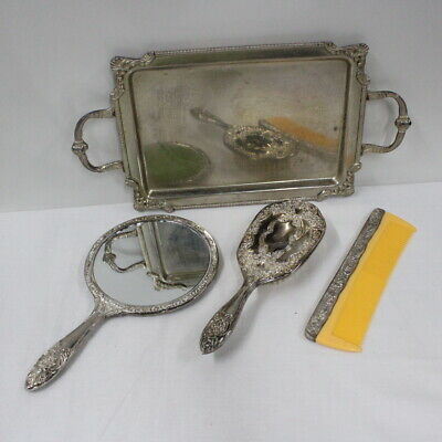 Vintage Heritage Mint Silver-Plate Hand Mirror Brush & Comb Vanity Set With Tray