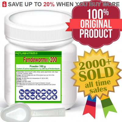 Fendeworm 200® 100g Powder Fenbendazole 20% De-wormer Panacur Safe Guard Fencur
