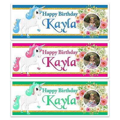X 2 Personalised Photo Unicorn Girls Birthday Party Name Banners Decoration
