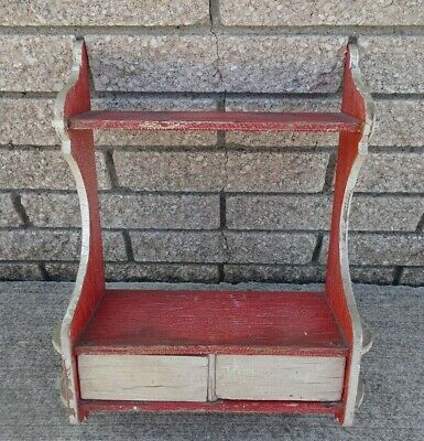 Primitive Painted Red & White Hanging Kitchen Cupboard Spice Cabinet Crackled