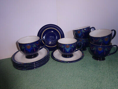Denby Baroque Set of 6  Tea Cups and Saucers Good Condition