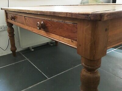 Antique Pine Victorian Kitchen Dining Table 6 seater
