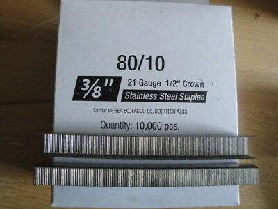 "Stainless Steel Upholstery Staples 80 Series 1/2"" Crown 3/8"" Leg Outdoor No Rust"