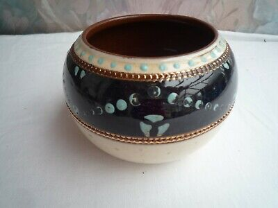 Vintage Ceramic  Pot With Enamel? Gilt Design