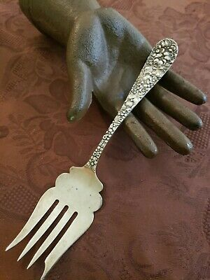 VINTAGE ANTIQUE Sterling Silver Stieff Rose Cold Meat Fork REPOUSSE 54.8 GRAMS