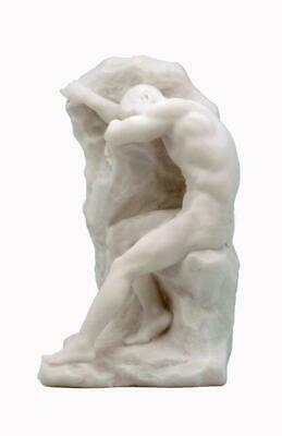 Bookend Nude Male Sitting On Rock(Marble White) - Home Accent