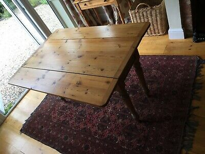 Antique Victorian Pitch Pine Drop Leaf Kitchen Table Drawer