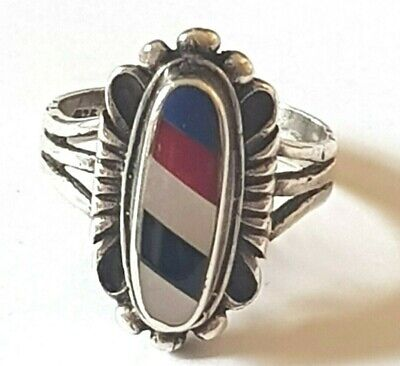 Vintage Silver Native American Gemstone Inlay Ring