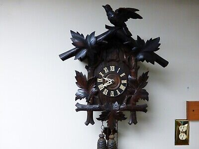 Rare Antique German Cuckoo Clock Co. - 1 Day - in working condition