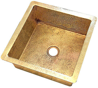 """Square hammered rustic brass bar sink with flat edge-2"""" drain opening"""