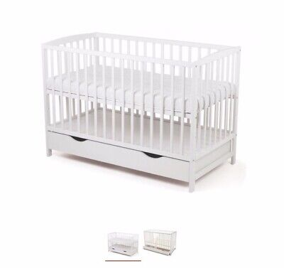 White Wood Baby Toddler Cot Crib 125 x 65 cm x 94 Heigh