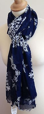 Navy Blue Scarf With Snowflake Print By Juniper