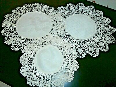 THREE VICTORIAN WHITE COTTON DAMASK with HAND CROCHET LACE ROUND DOILIES
