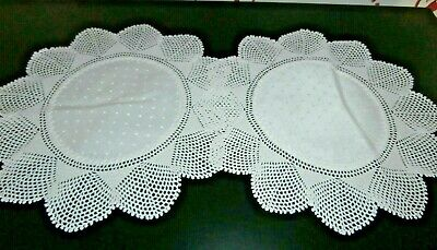 """PAIR of VICTORIAN WHITE COTTON DAMASK with HAND CROCHET LACE ROUND DOILIES 9"""""""