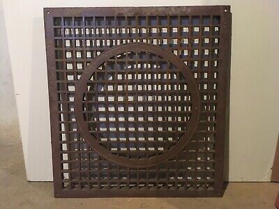 """Antique Large Cast Iron 21 1/4"""" by 23"""" Cold Air Return Floor Grate Register"""