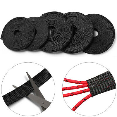 Density Expandable Braided Cable Sleeve Wire Protector Cord Winder Organizer