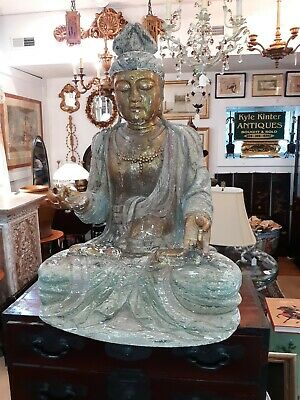 Large Old or Antique  Buddha Statue  Wood  Carving Distressed  Surface