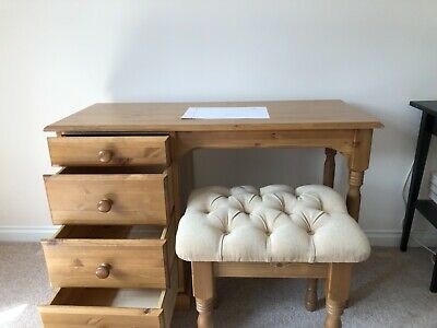 antique style four drawer dressing table pine. With stool