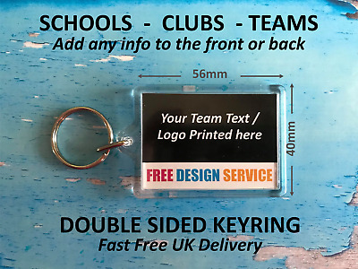 Personalised Keyrings - Add Logo Text Image  Ideal for Clubs Schools Fundraising