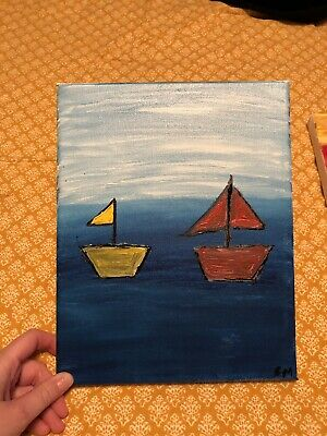 "ACEO - Original Acrylic Abstract Painting - ""Smooth Sailing"" - Signed by Artist"