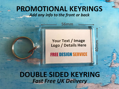 Personalised Promotional Keyrings - Add Logo Text Image - Business School Uni
